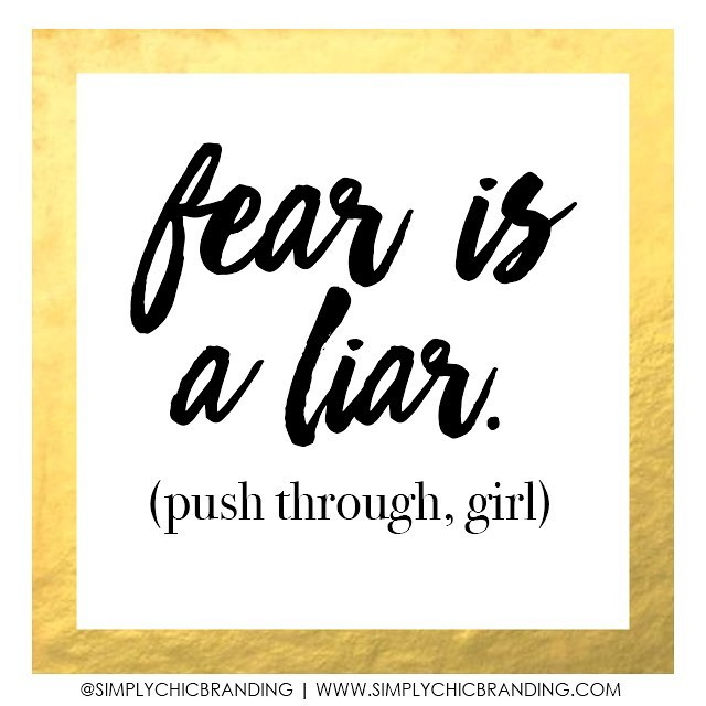 You know that nervous feeling you keep having? What about that voice telling you to stay in your comfort zone? What if I told you, that was just FEAR. Such a nasty little liar! You can do all the things! 😊 Push through girl, what's the BEST that can happen? ✨www.simplychicbranding.com | 📧 simplychicbranding@gmail.com