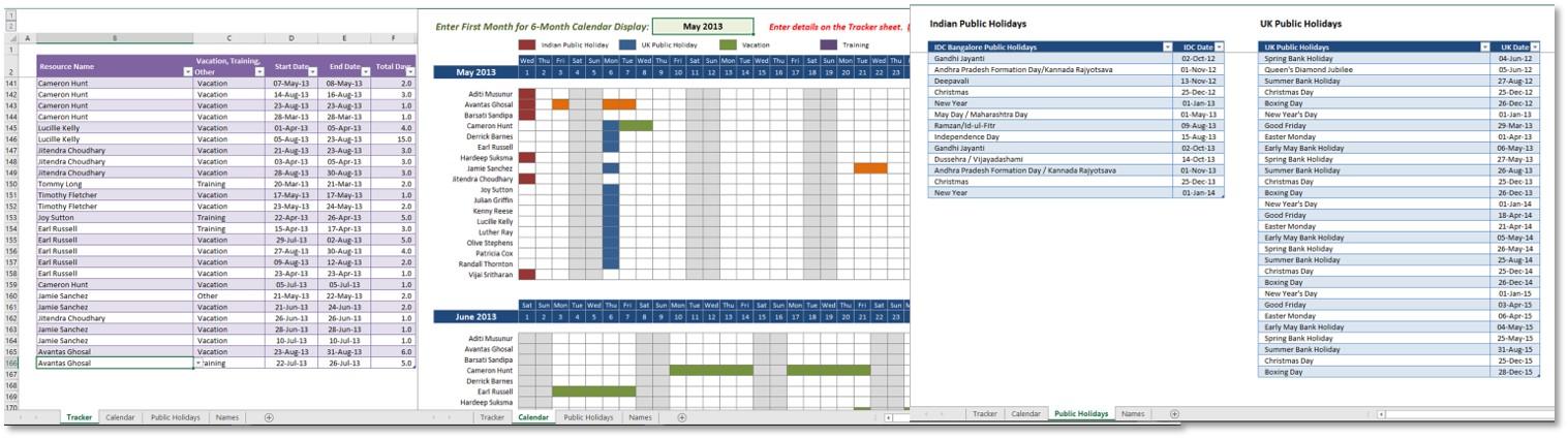 Vacation Training Tracker Methodexcel