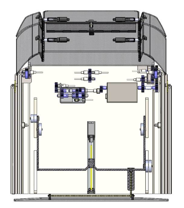 Schematic of gearbox layout with secondary ram to drive ramp articulation