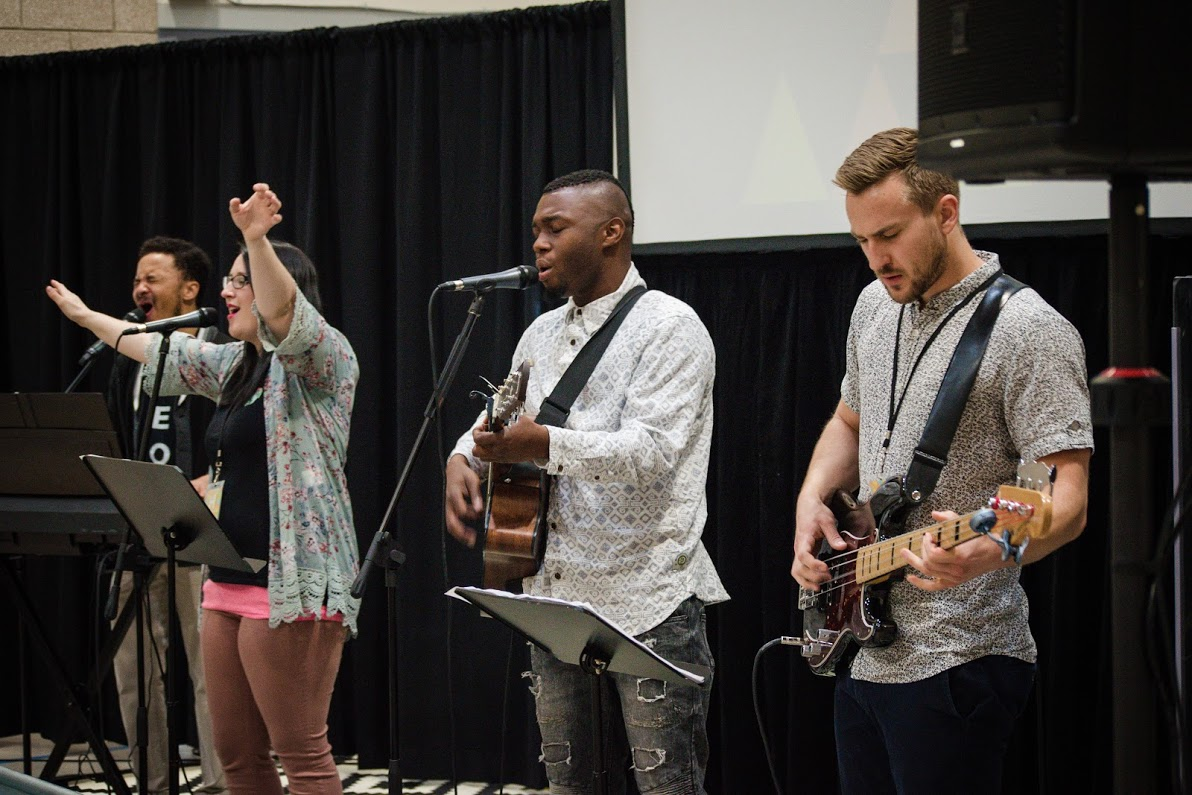 The worship team at the Hills Church in the Park Hill neighborhood of Denver, Colorado.