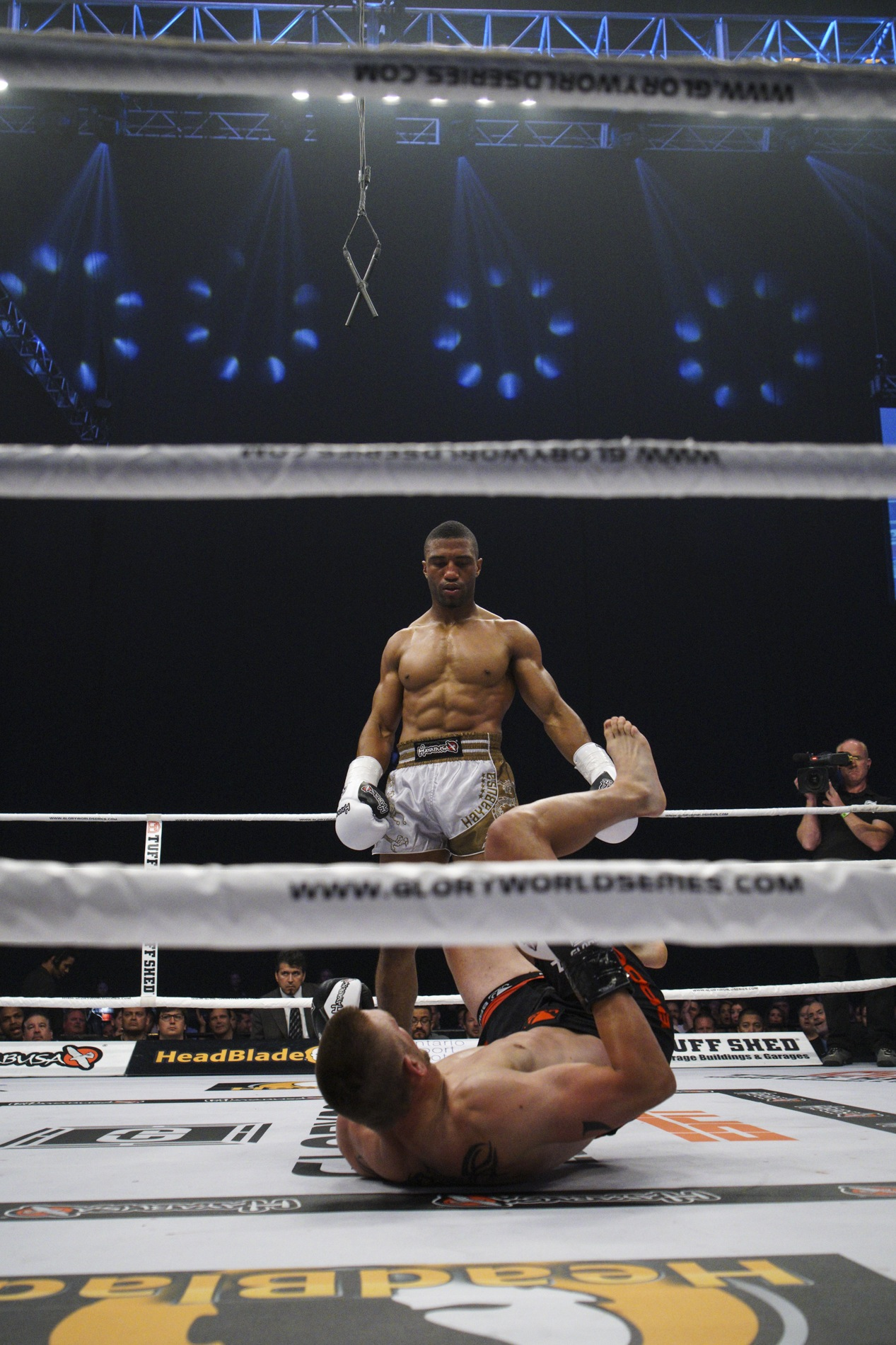 Simon Marcus admires his handiwork after sweeping Dustin Jacoby. GLORY 30 Los Angeles.
