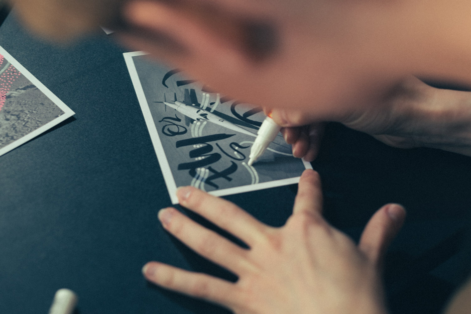 Mila Leva drawing on calligraphy by Gabriele Cecere