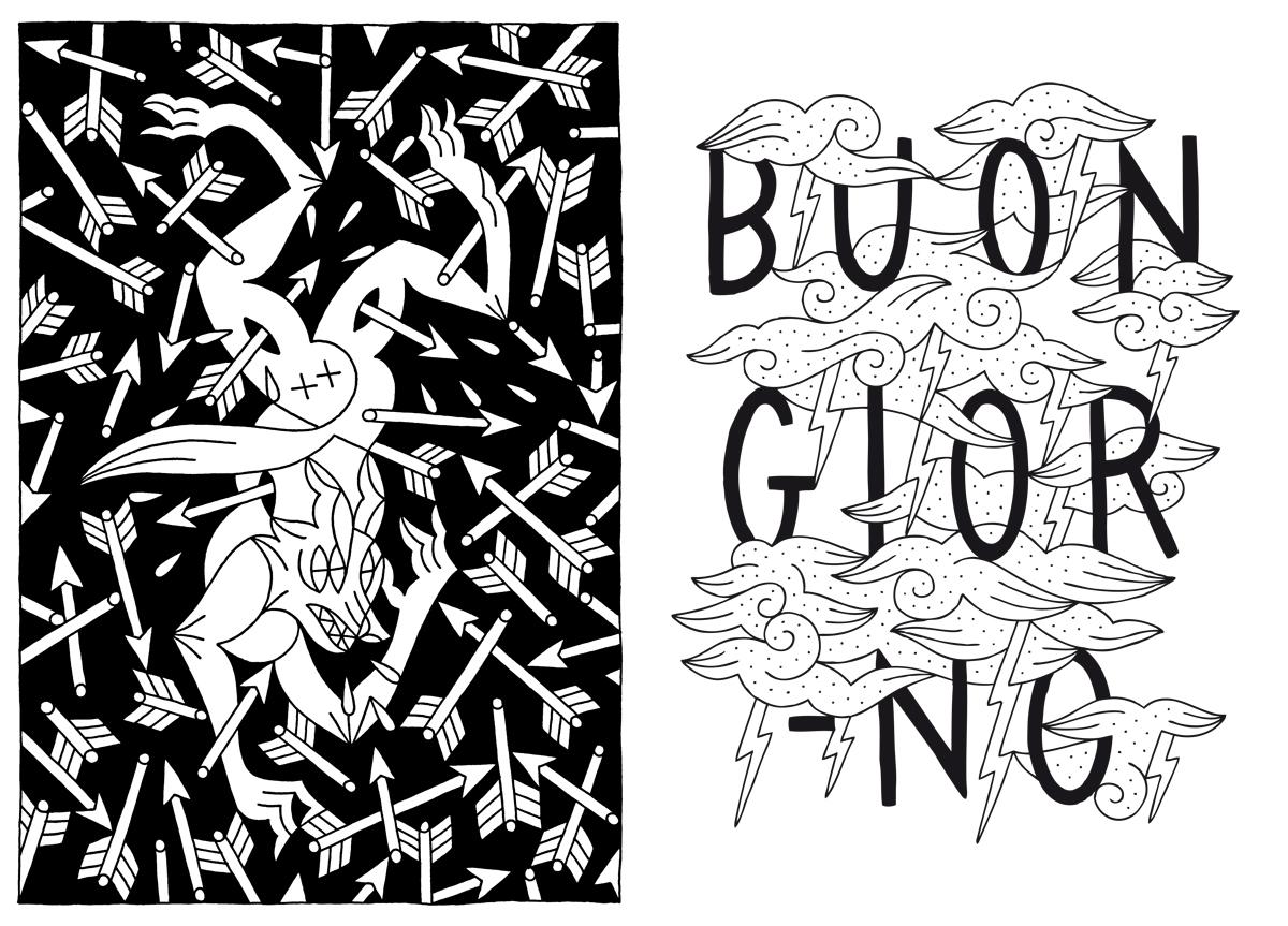 Left : Illustration for  La morte ti fa belva fanzine  -  Right :  Buongiorno    (Personal Project)