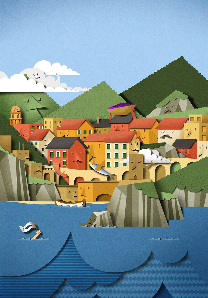 Client:  Fortu and Marco Pasini,  poster for  Le Cinque Terre
