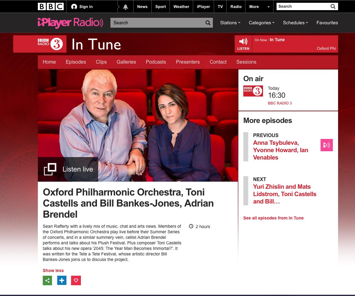 BBC Radio 3 - In Tune (2016)