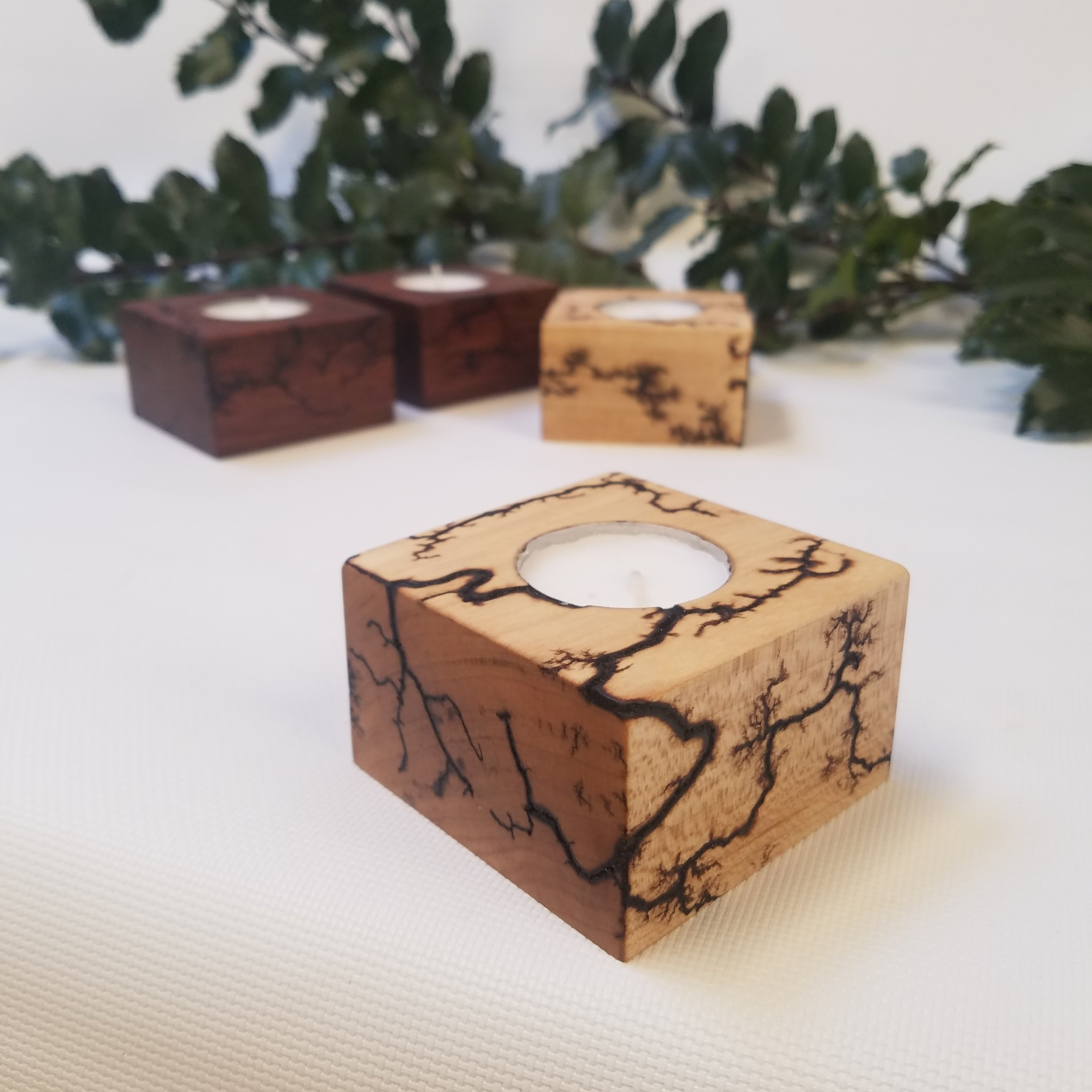 Maple and Jatoba tea lights with Lichtenberg figuring