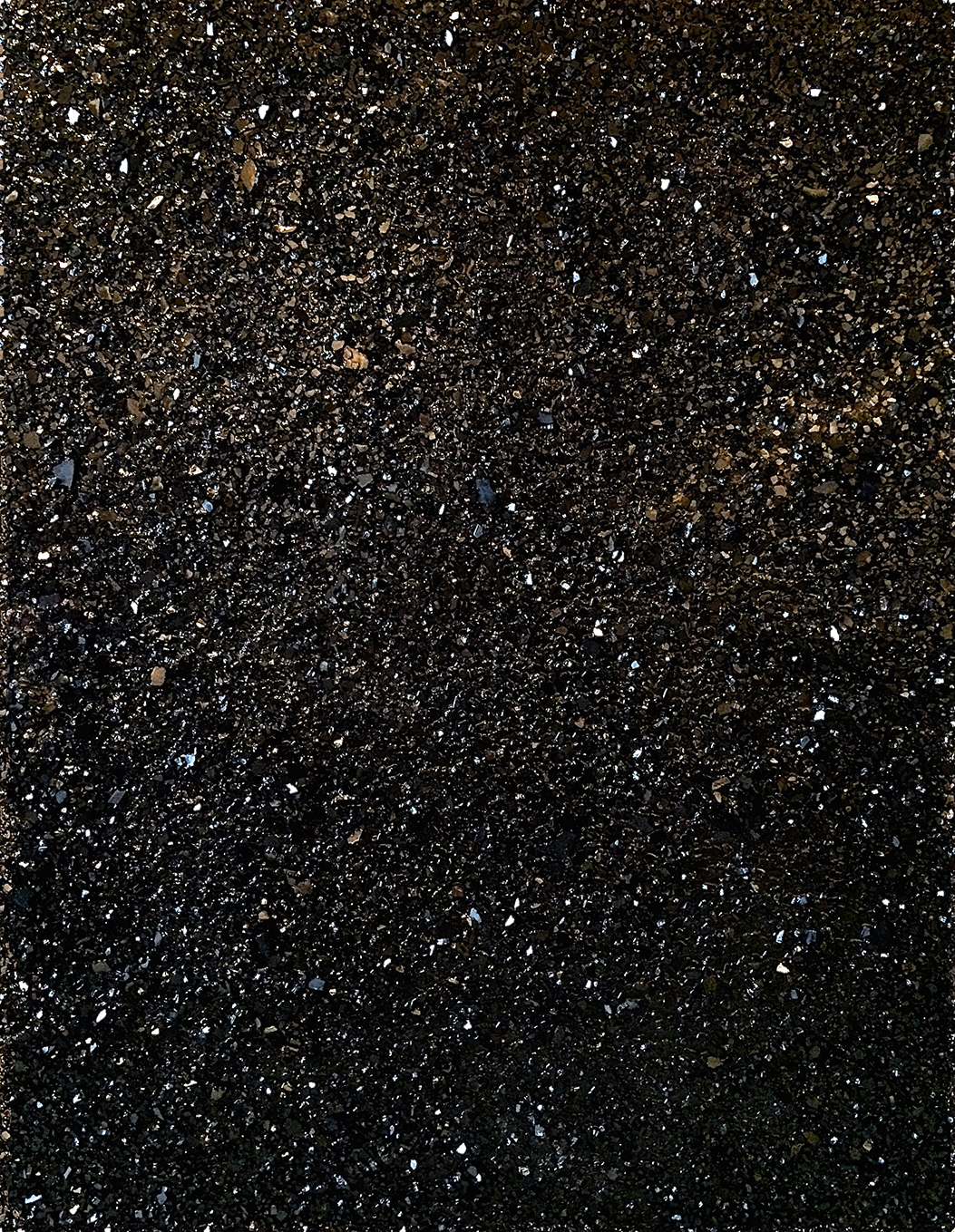 SHATTERED HIGH-RISE GLASS, OIL, RESIN, MOTOR OIL, ON CANVAS - 60X48