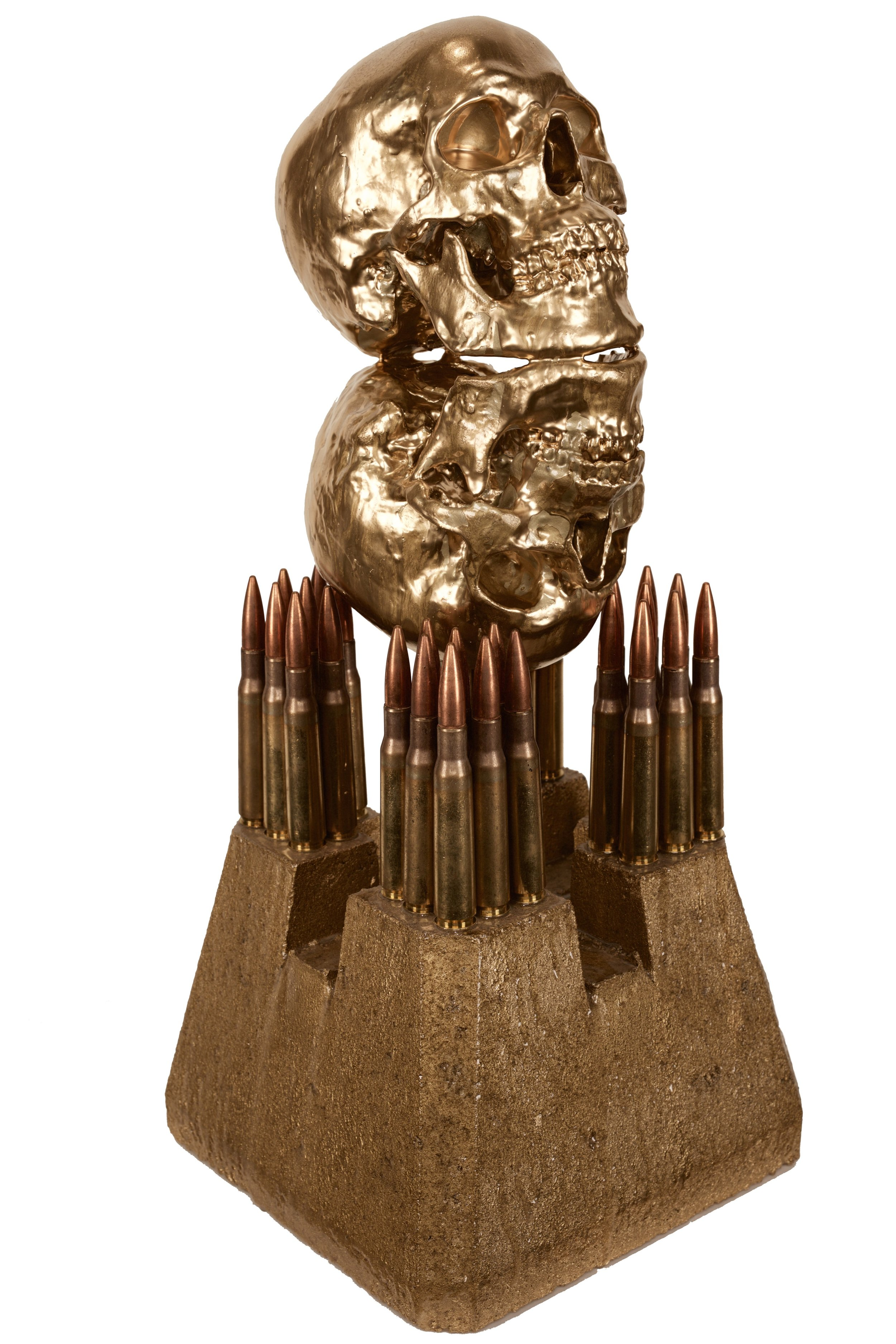 """""""ENLIGHTENED IN THE DISARMAMENT OF SELF""""  .50 CAL BULLETS, RESIN, OIL, CONCRETE"""
