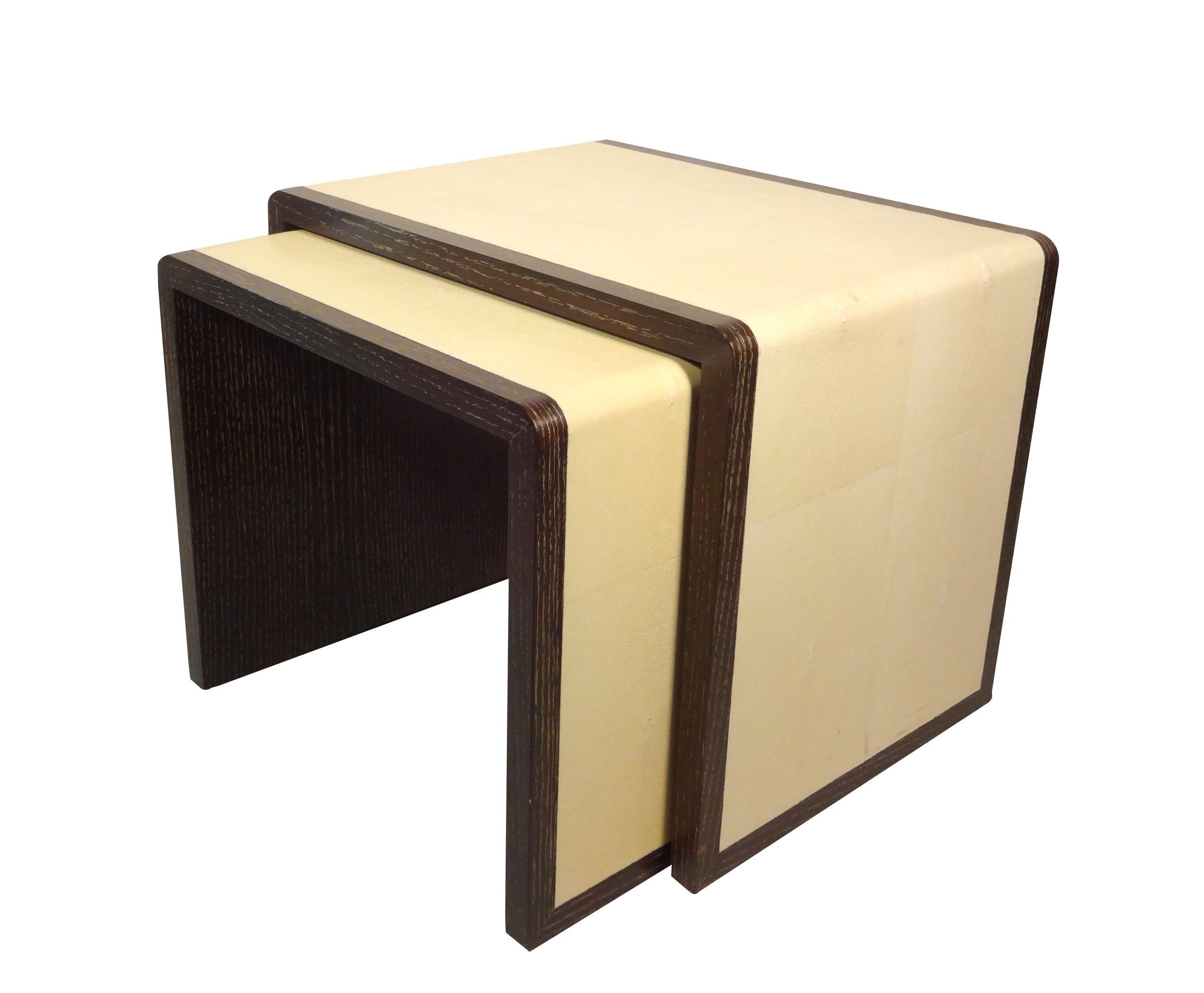 Cream Shagreen Nesting Table