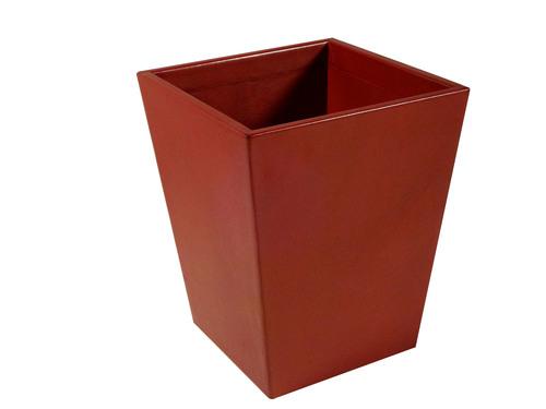 Red Leather Wastebasket