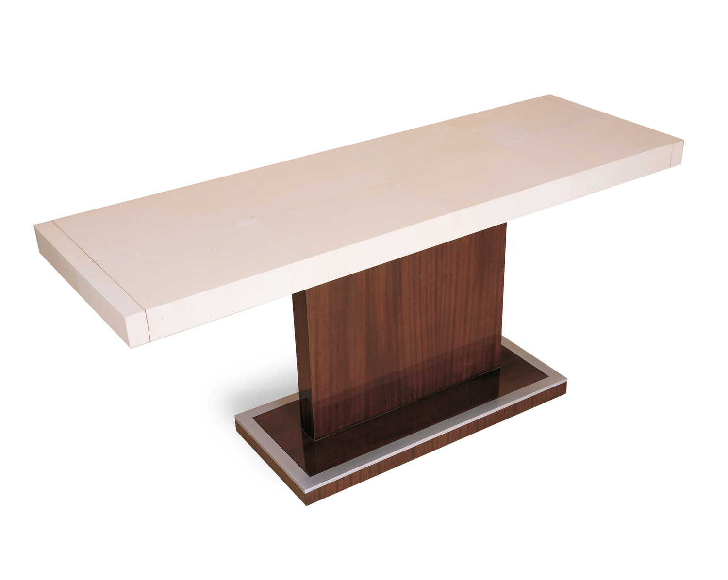 3001+Parchment+Wrapped+Console+Table+with+End+Drawers.JPG
