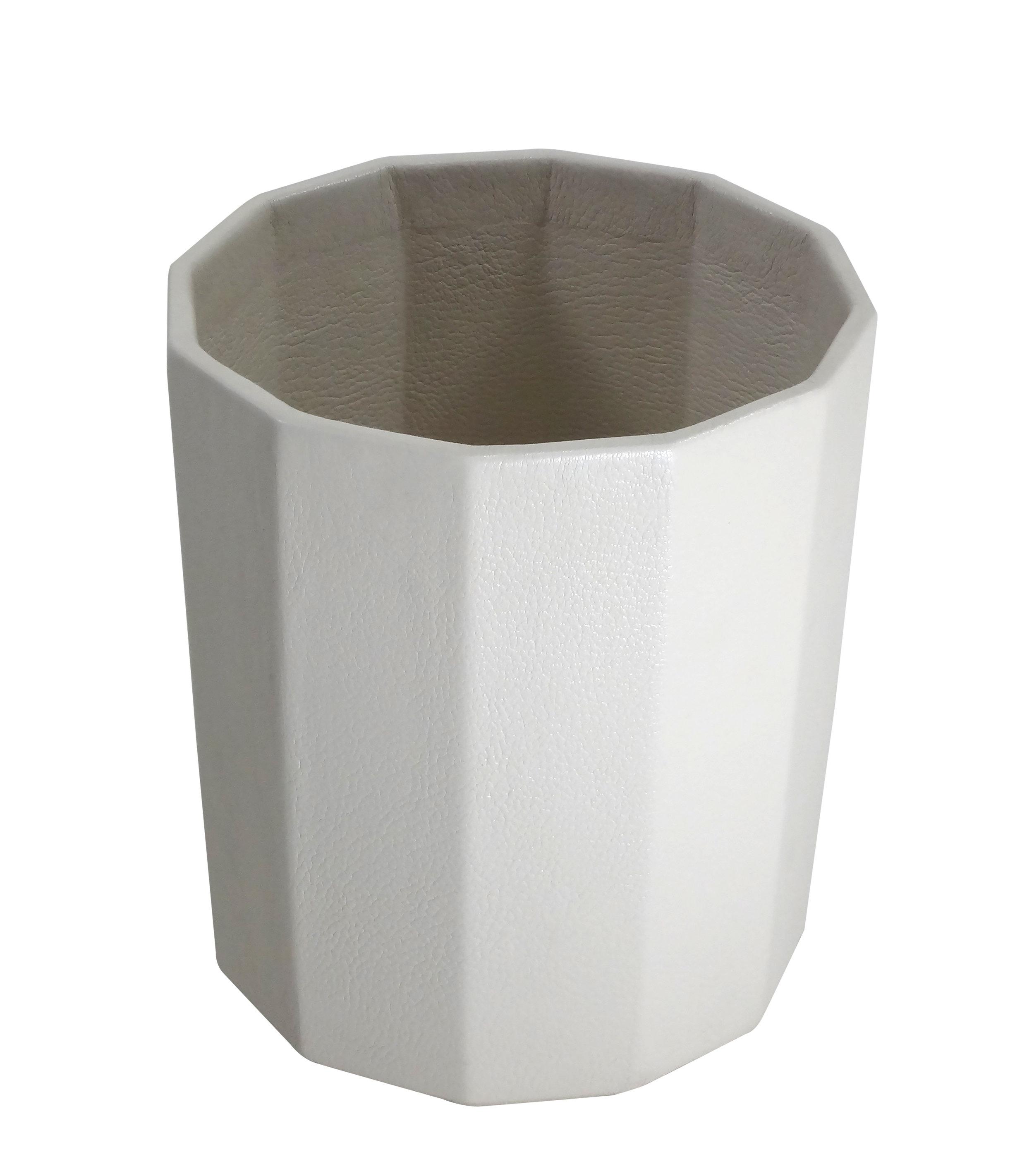Geometric White Goatskin Wastebasket