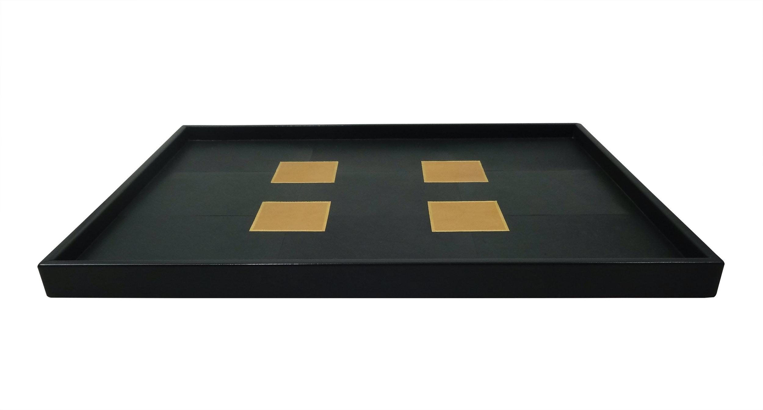 Inlaid Gilded Goatskin Tray