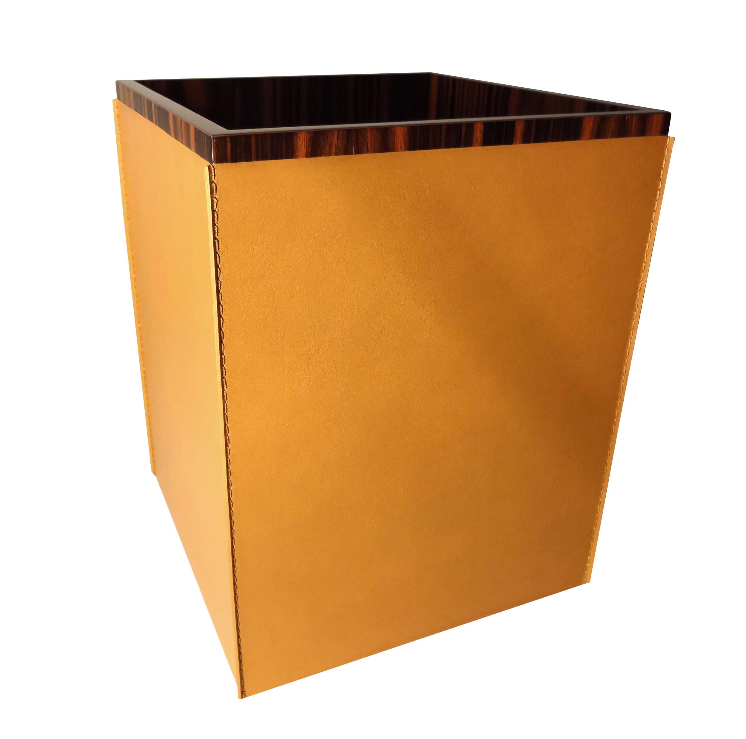 Hand Sewn Saddle Leather Wastebasket