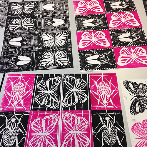 Expressive linocuts - A great introduction to linocut, exploring one or more different approaches to relief printmaking: creating expressive white lines, describing tonal values from light to dark, and creating pattern-based designs.Subject matter can be themed to reflect current or future projects – and degree of skill/difficulty can of course be tailored to your needs. Cutting tools used so not suitable for younger students.(Prints by students at Stanborough school, Welwyn Garden City)