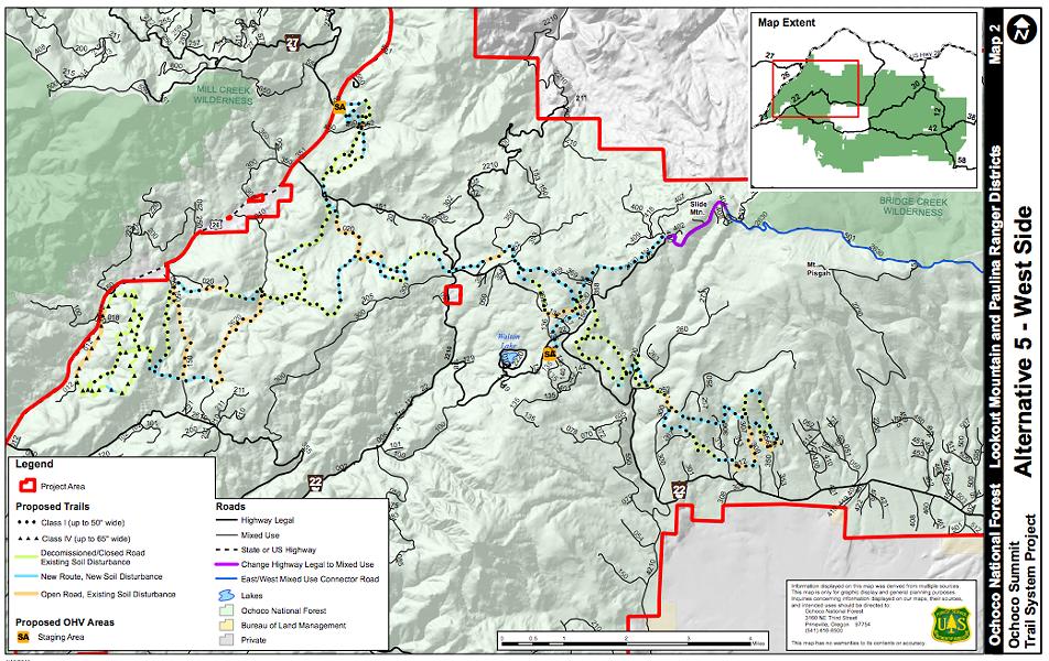 Map of West Side of Ochoco Summit Trail System.