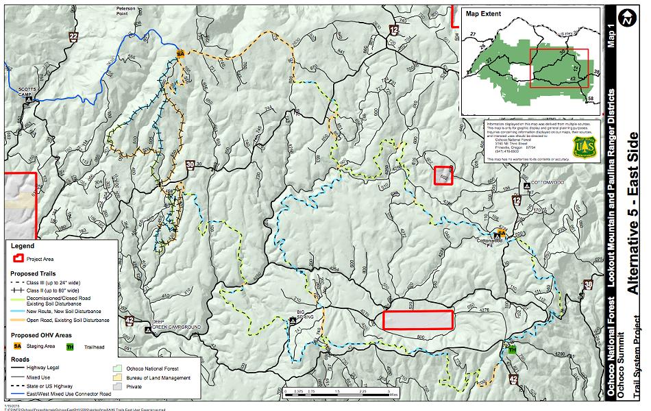 Map of East Side of Ochoco Summit Trail System.