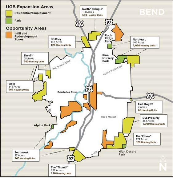 UGB Package Highlights   Reduced urban sprawl by 70% compared with the city's original UGB proposal.  Utilized a transect approach, which addresses wildlife, wildfire, and transportation concerns where the city abuts permanent natural areas.  Diversified the housing mix so that residents will have a variety of housing options.  Used Bend's existing urban land wisely, with infill and redevelopment focused in key opportunity areas.   Zoned for new walkable, mixed use and complete communities while also complementing existing communities in Bend.  Met state requirements so that our city can move forward with a clear plan for well-designed growth.