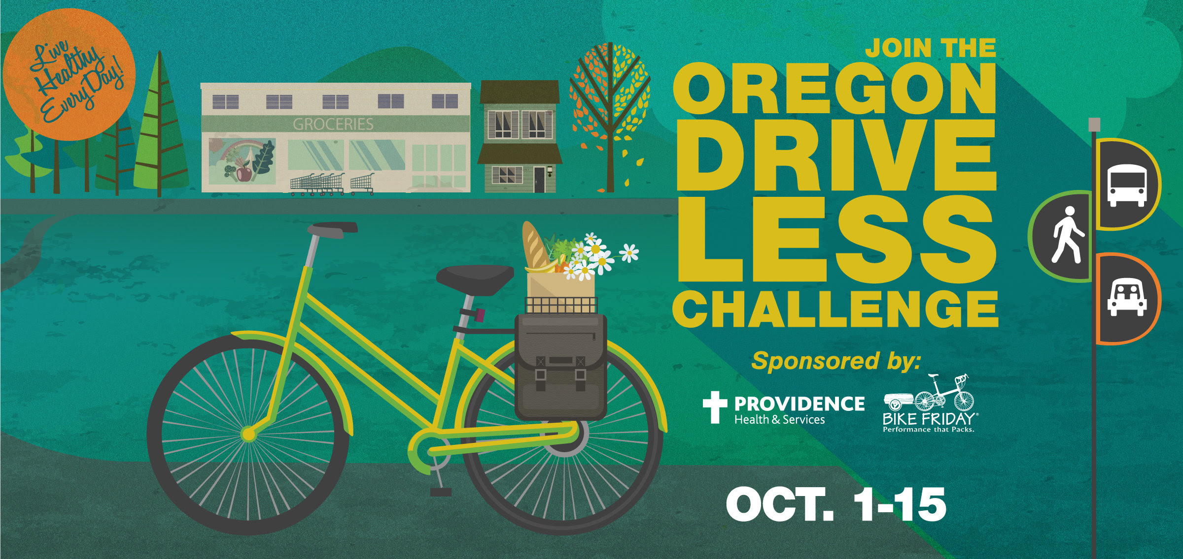 Discover healthy, green travel options for work, school, errands, and play—join the Oregon Drive Less Challenge Oct. 1-15! Burn calories instead of gas by biking to work, or walking to the store. Divide the ride and the cost by carpooling or vanpooling. Take the bus and let someone else do the driving so you can listen to music, or read that page-turning book. Then log your trips at  DriveLessConnect.com  to win weekly and grand prizes! Over 55 prizes will be awarded.