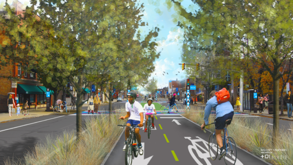 (Photo is an example from Cleveland's 60 mile protected bike network)