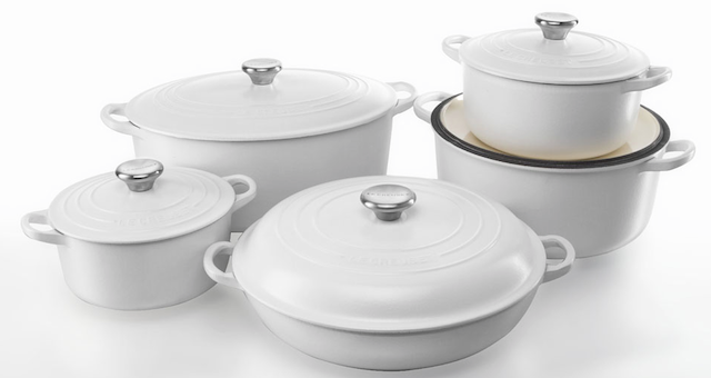 Special ingredient:  New from    Le Creuset    matte white French ironware, perfect for braising or searing meats.  The white is a fresh clean look.