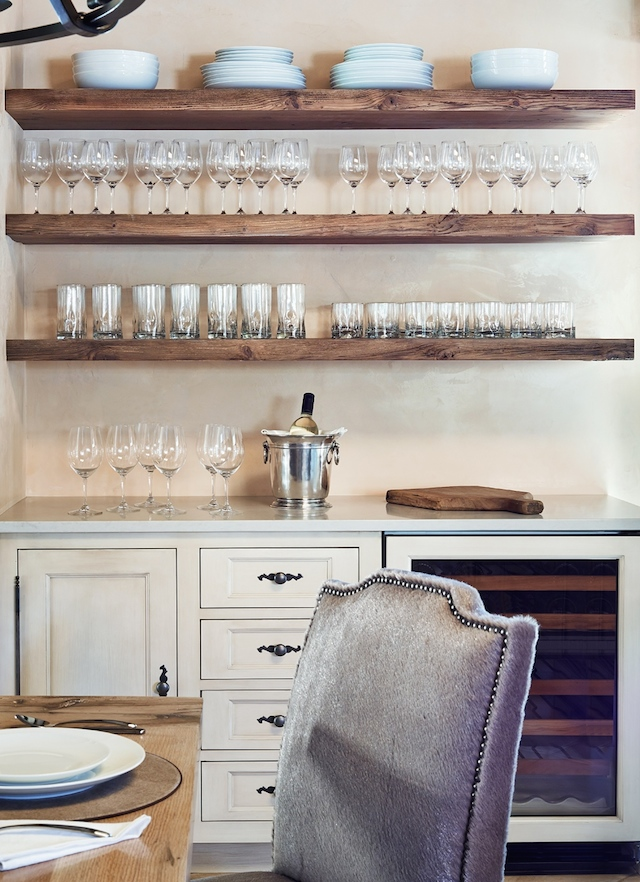 Special ingredient:  Custom floating shelving for wine bar storage creates a clean look and allows your guests to serve themselves.    Hope these ideas enhance your culinary adventures!