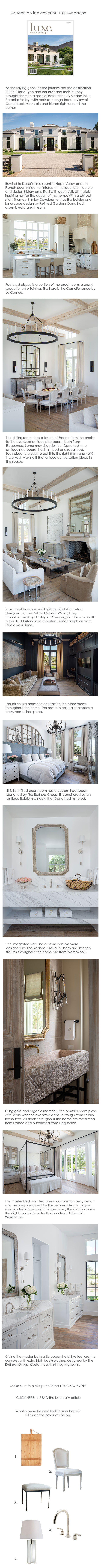 1. Pottery Barn Pine Wood Cutting Board  2.  Eloquence Dining Chair  3. Custom Stool by The Refined Group 4.  Waterworks Henry Collection  5.  Ralph Lauren Table Lamp