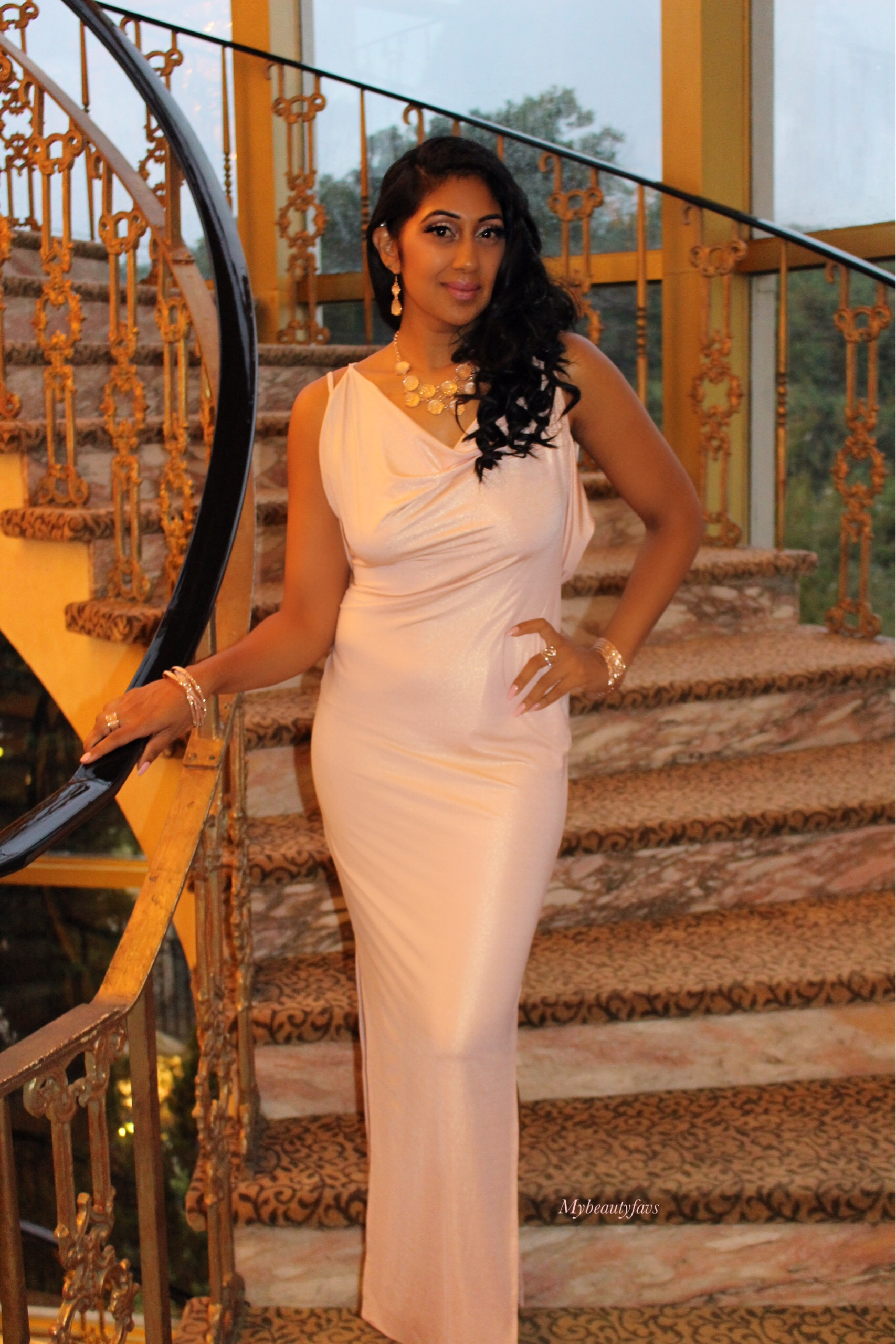 House of CB - Leonetta Blush Shimmer Maxi Dress