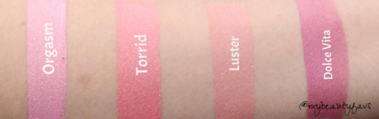 The above swatches were made with one pump and not sheered out
