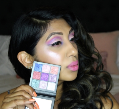 Here I'm wearing shade # 8 & 2 on the lid and shade #9 in the inner corner. I paired it with the Electric Obsession Palette