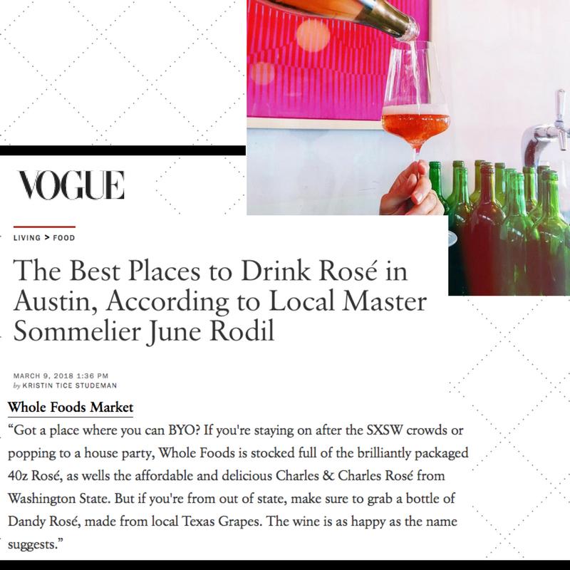 Vogue Magazine Dandy Rosé Austin Rae Wilson Texas Wine