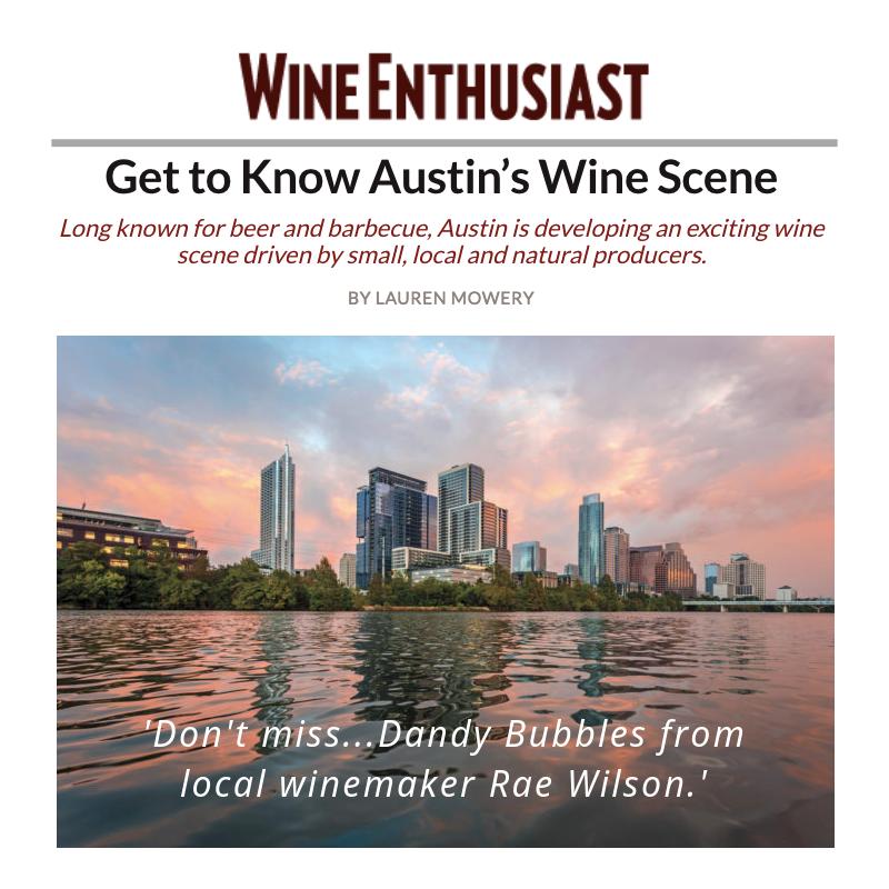 Wine enthusiast dandy rosé bubbles rae wilson wine texas