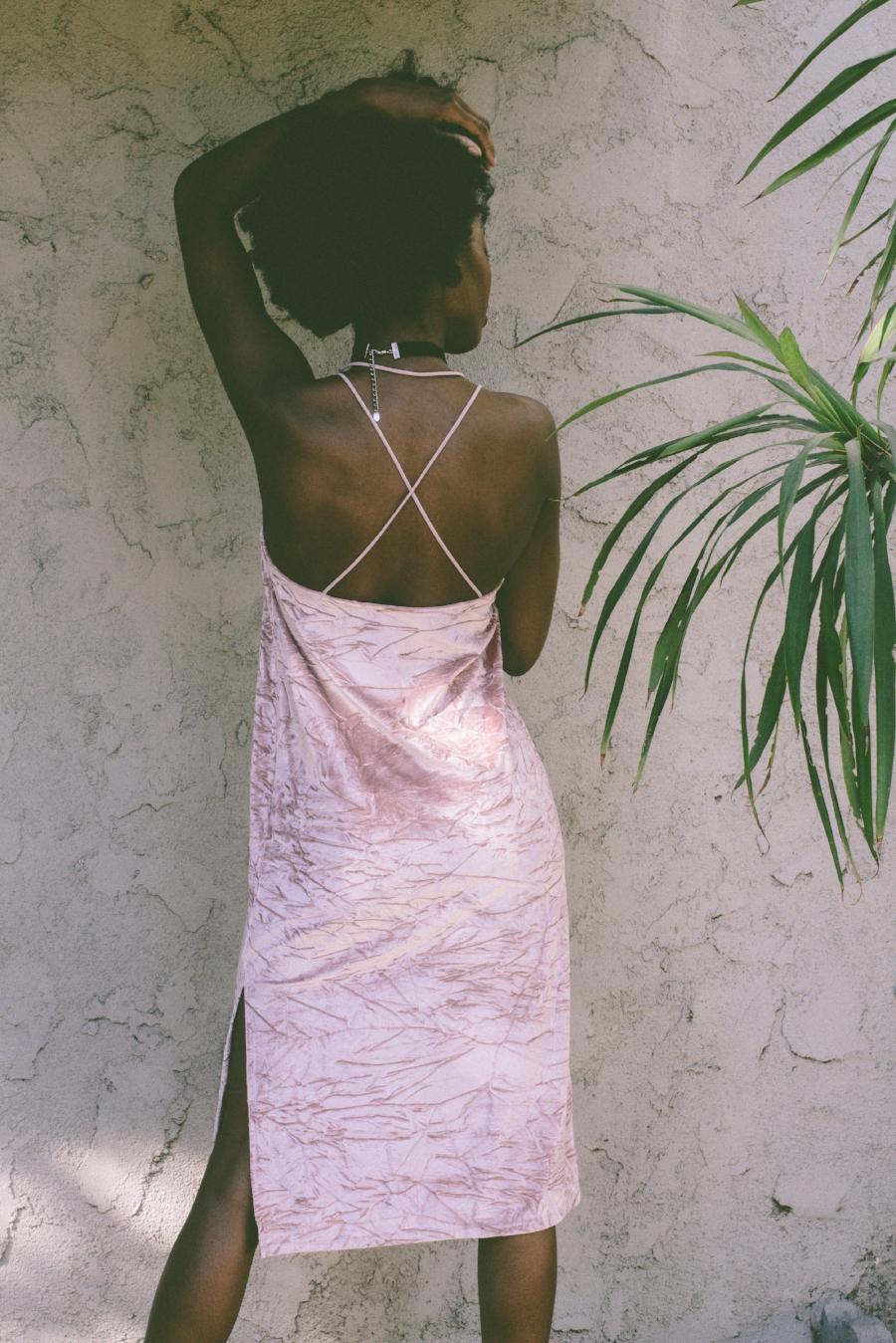Pink crush velvet dress