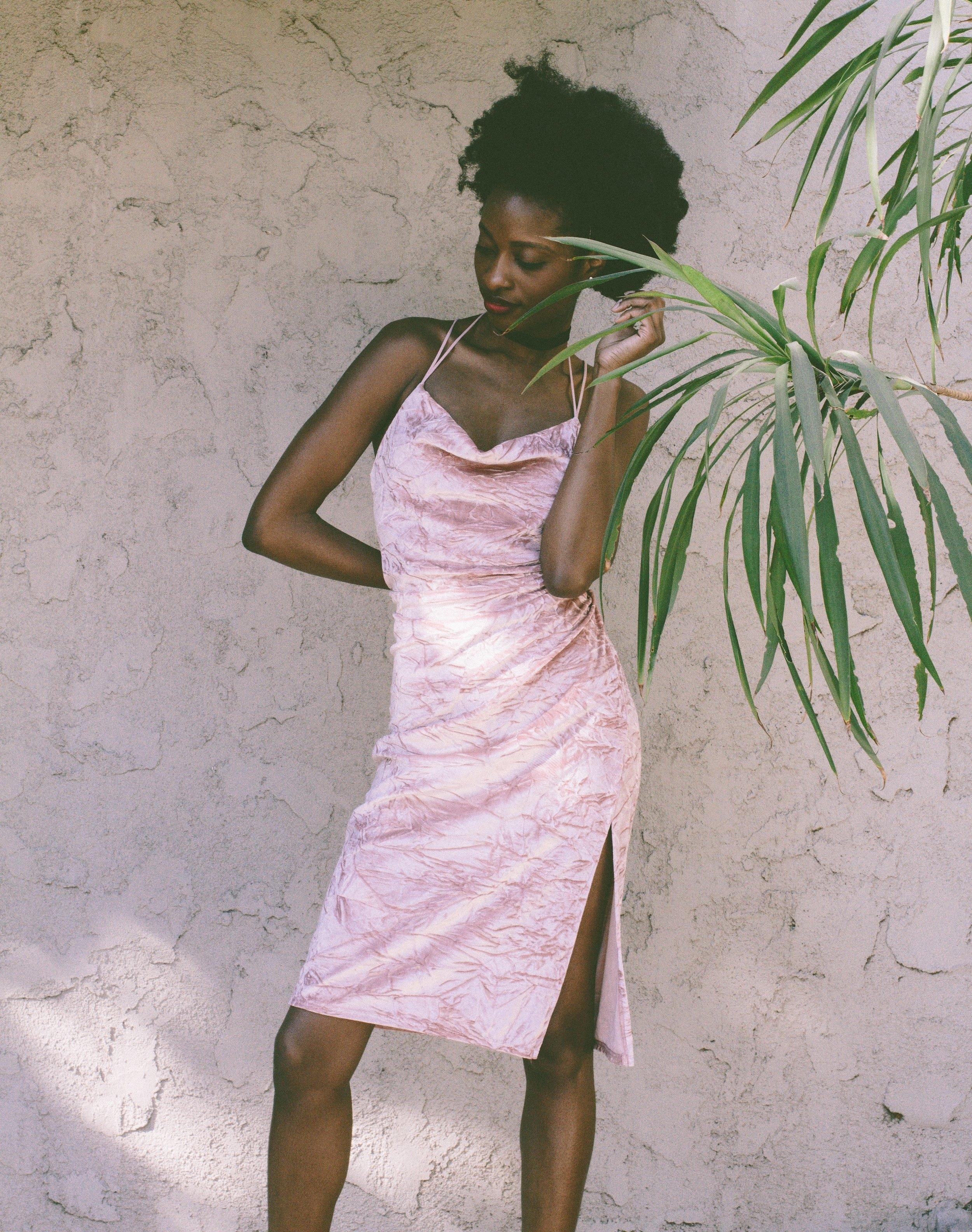 Pink velvet crush dress - YvetteCorinne.com