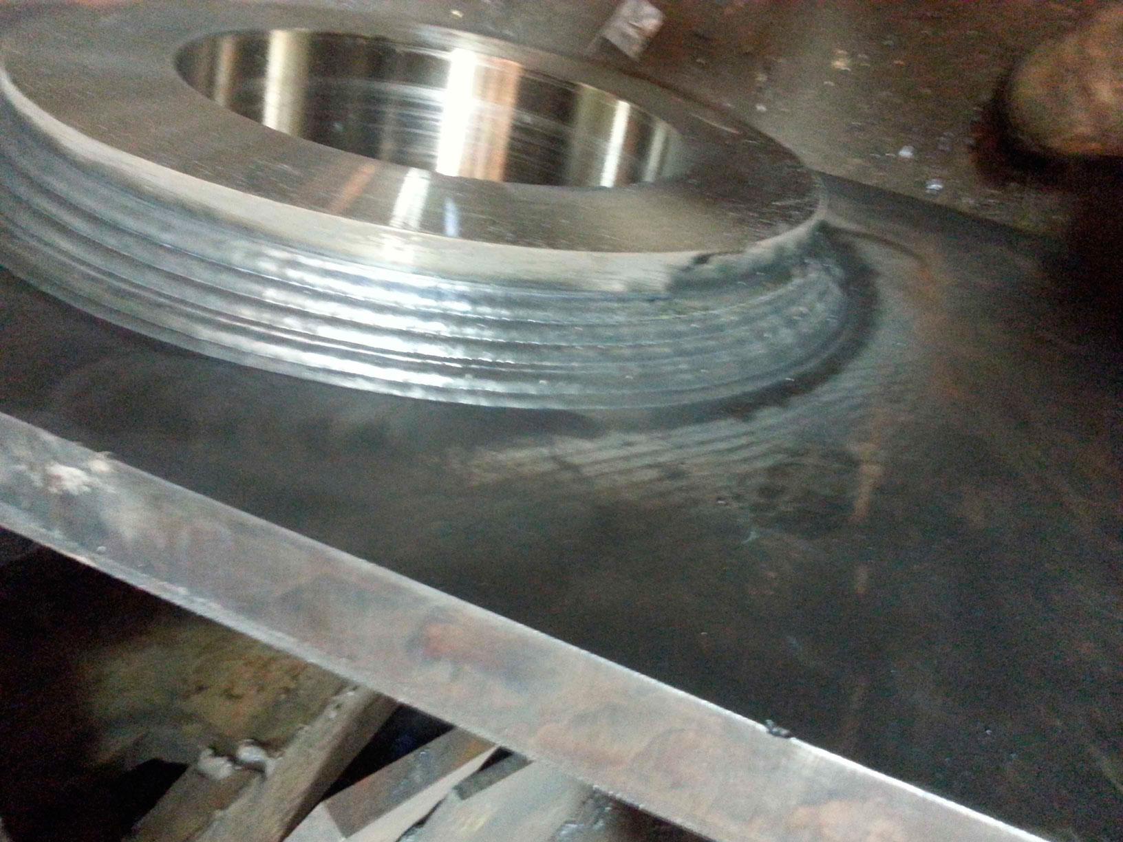 Multi-pass weld, 2-inch to 7-inch