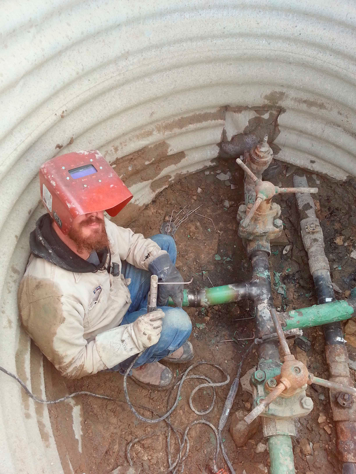 Rob in cellar repairing line leak