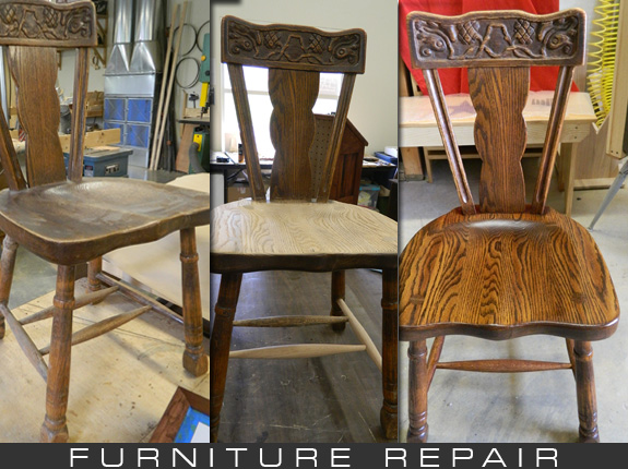 Furniture repair photo. Three pictures, before, during, and after repapirs