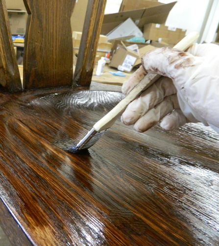 Staining the seat