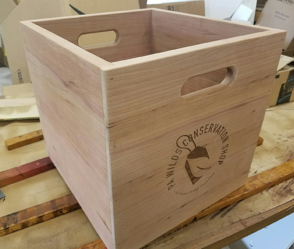 Built crate, raw wood prior to staining
