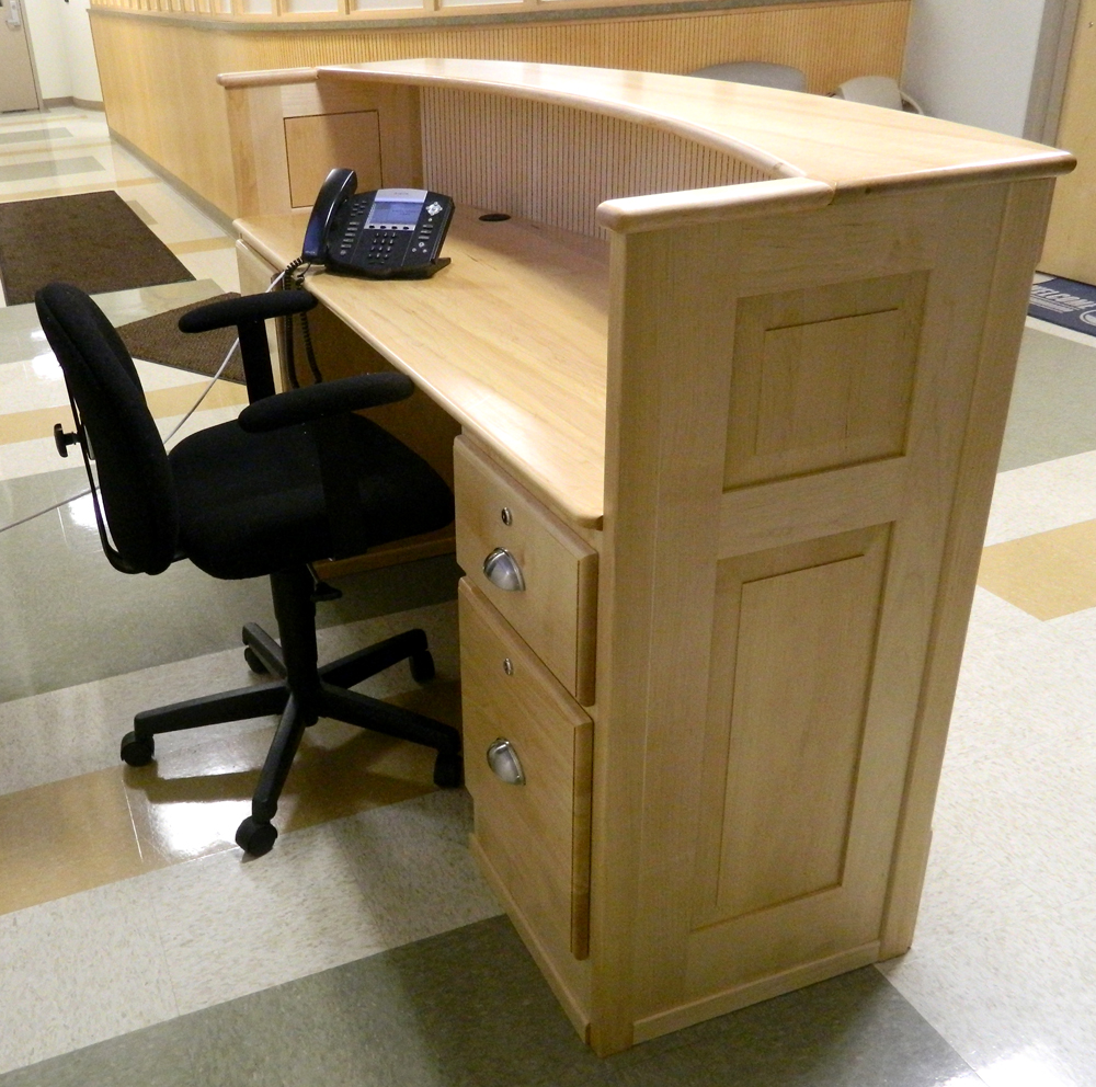 A side view of the desk