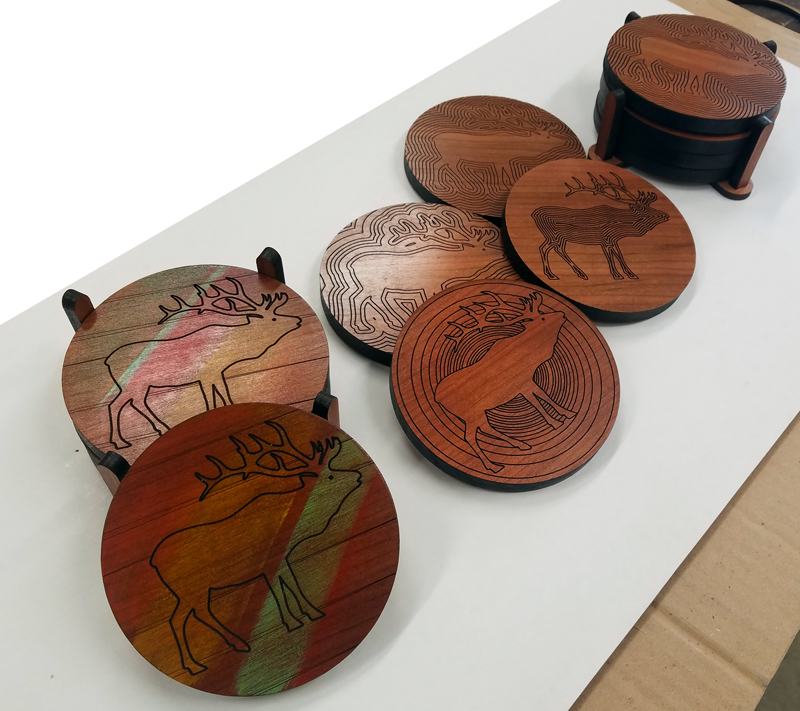 LARGE ELK COASTER SETS - Also - we'll have a few sets of some pretty far-out elk coasters for $30