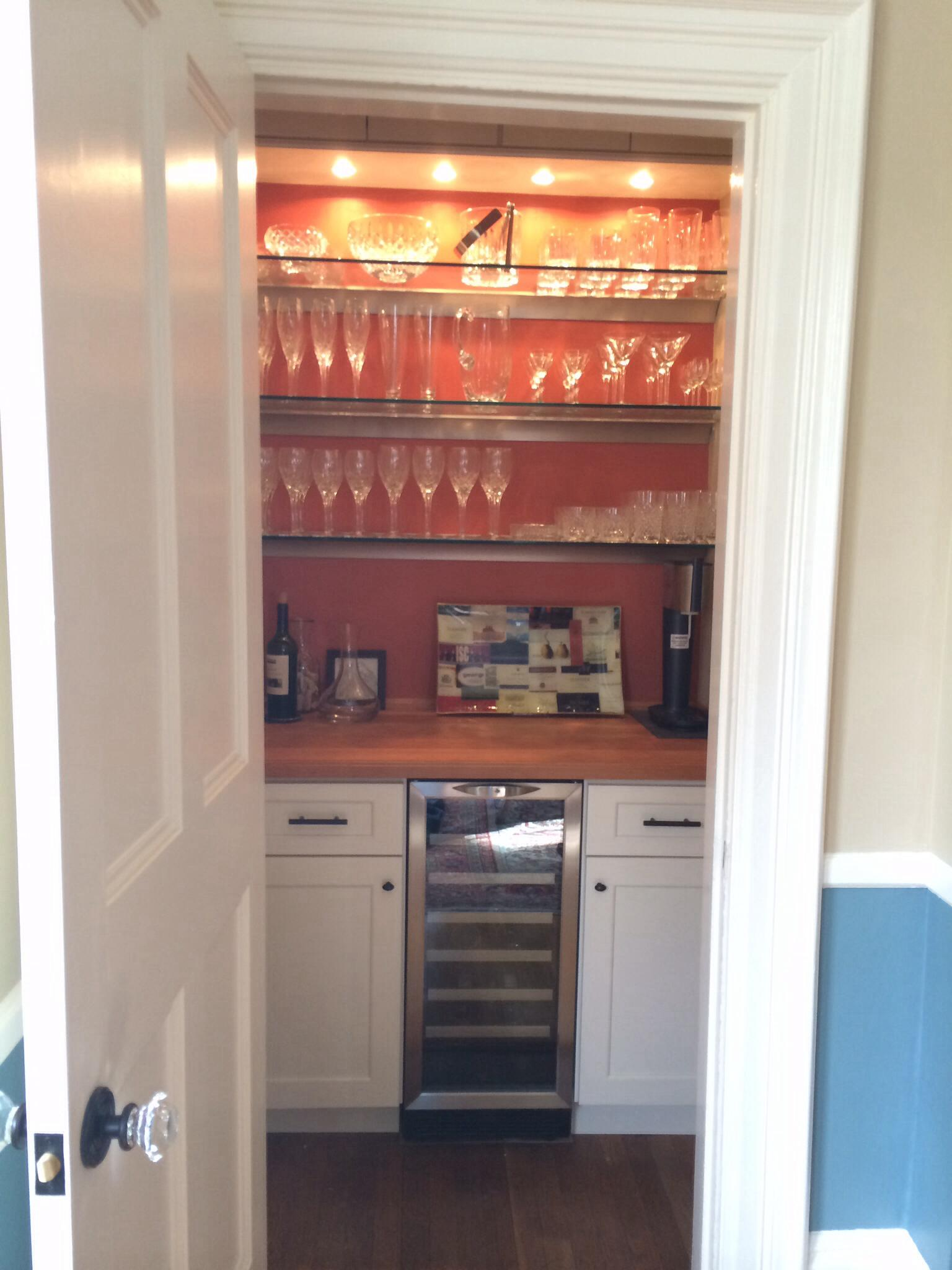 Dining room closet converted to dry bar