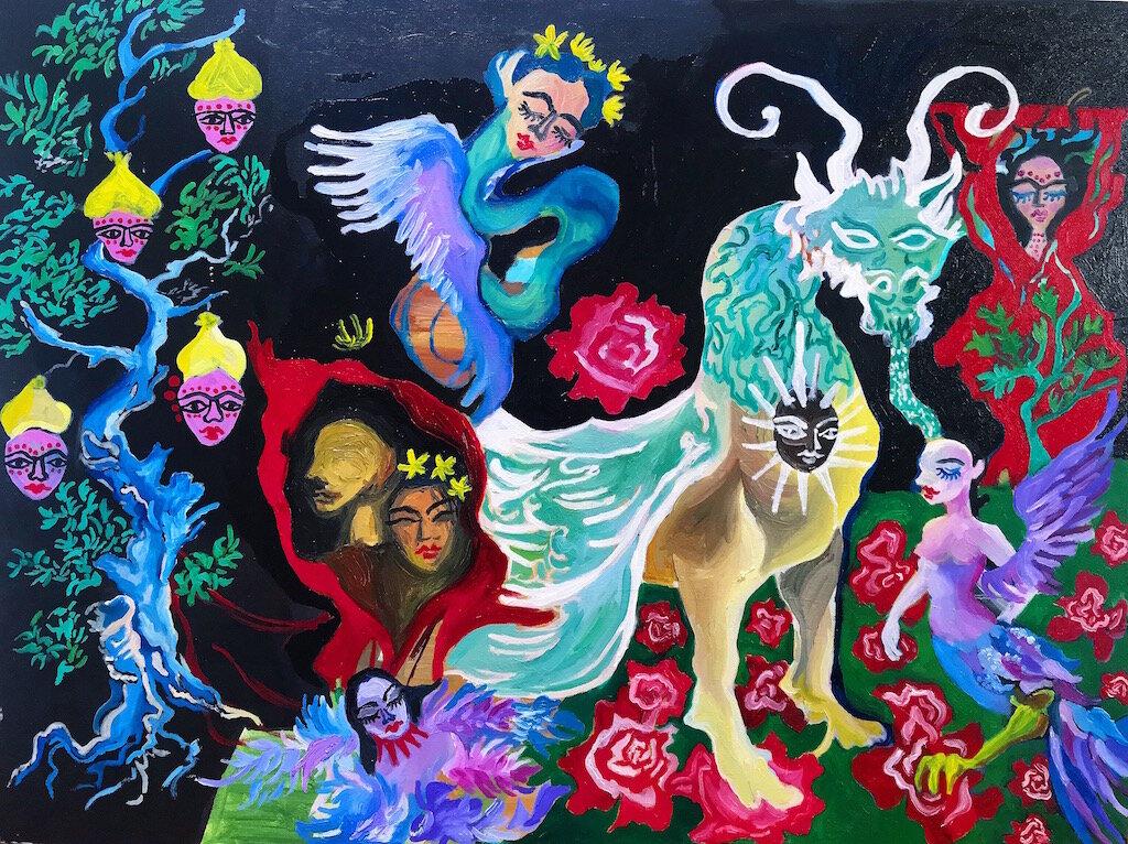 Con Rồng Lai Ngựa, Con Rắn Lai Tiên (acrylic and oil on canvas, 80cmx60cm)