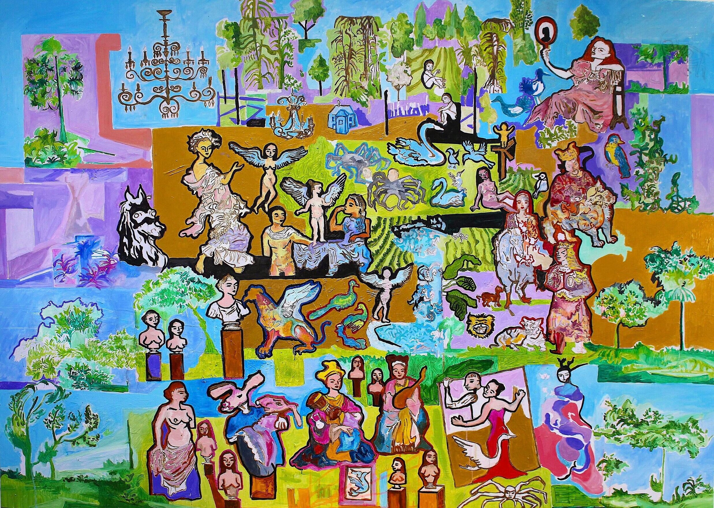 Paradoxical Mingling of Symphonic Mysteries (oil on canvas, 220cmx150cm)