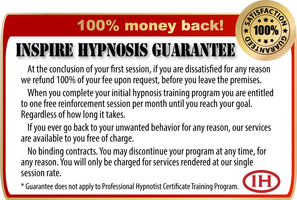 inspire hypnosis service guarantee, redding, ca.