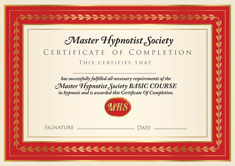 master hypnotist society certificate of completion, basic course.