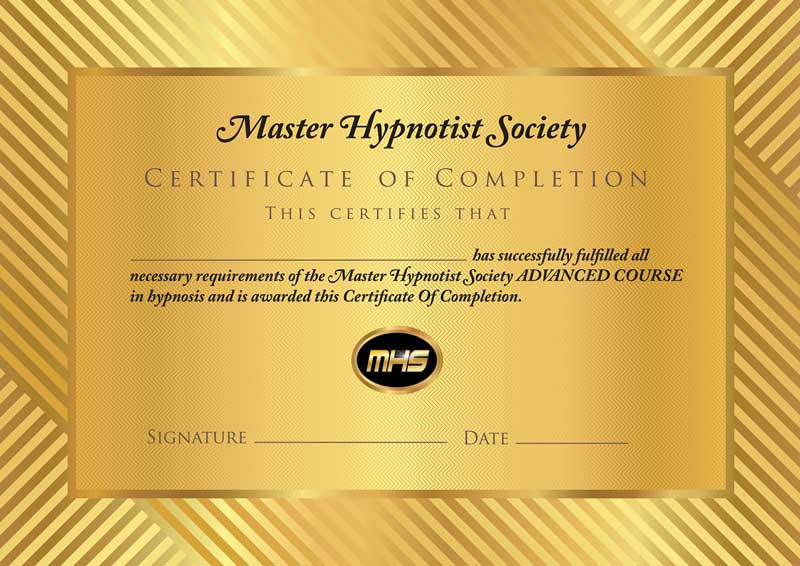 master hypnotist society certificate of completion.
