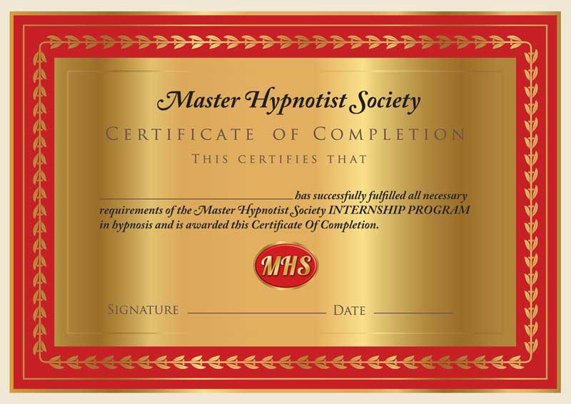 inspire hypnosis professional hypnotist internship certificate of completion.