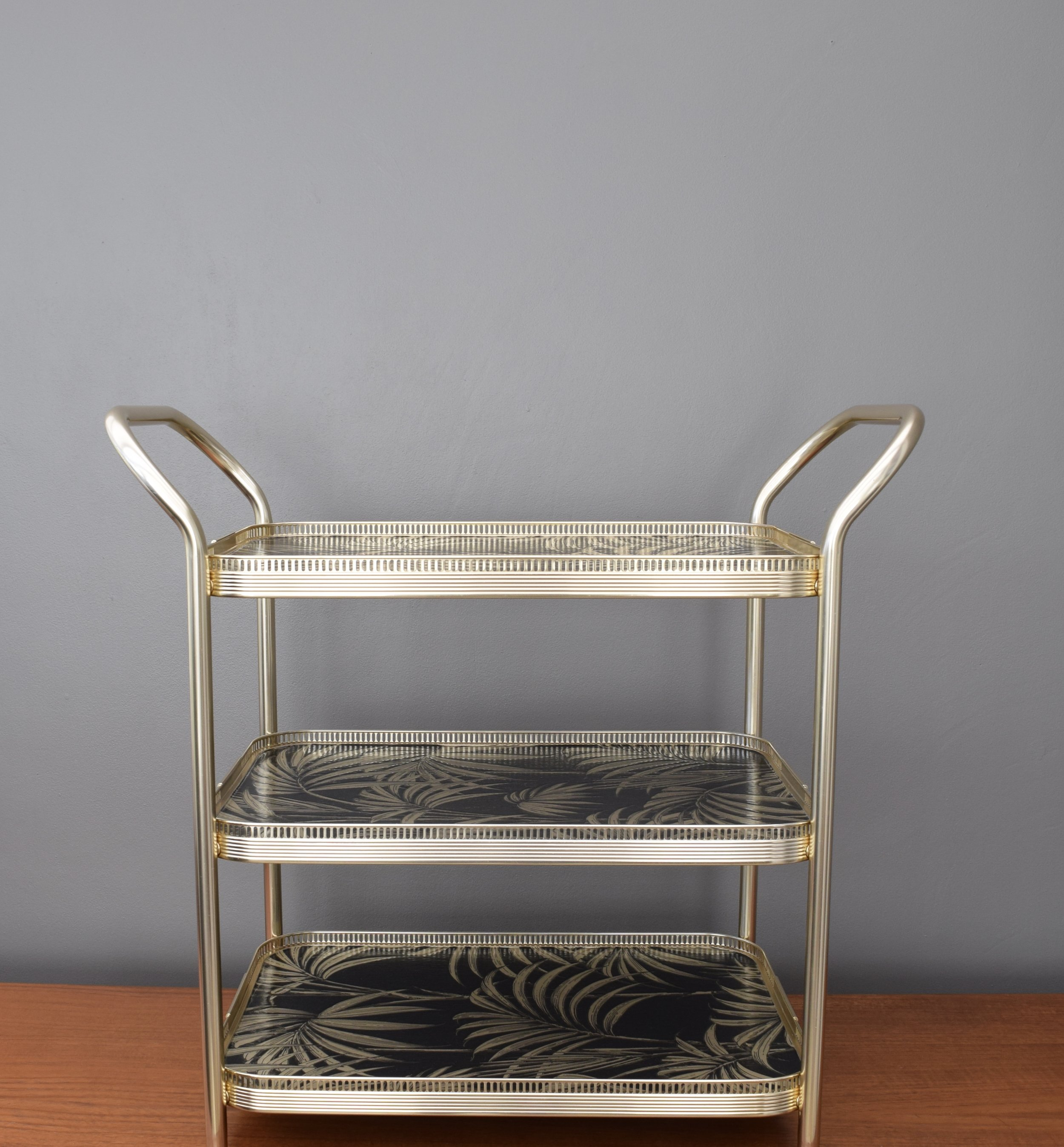 BLACK AND GOLD PALM DESIGN DRINKS TROLLEY