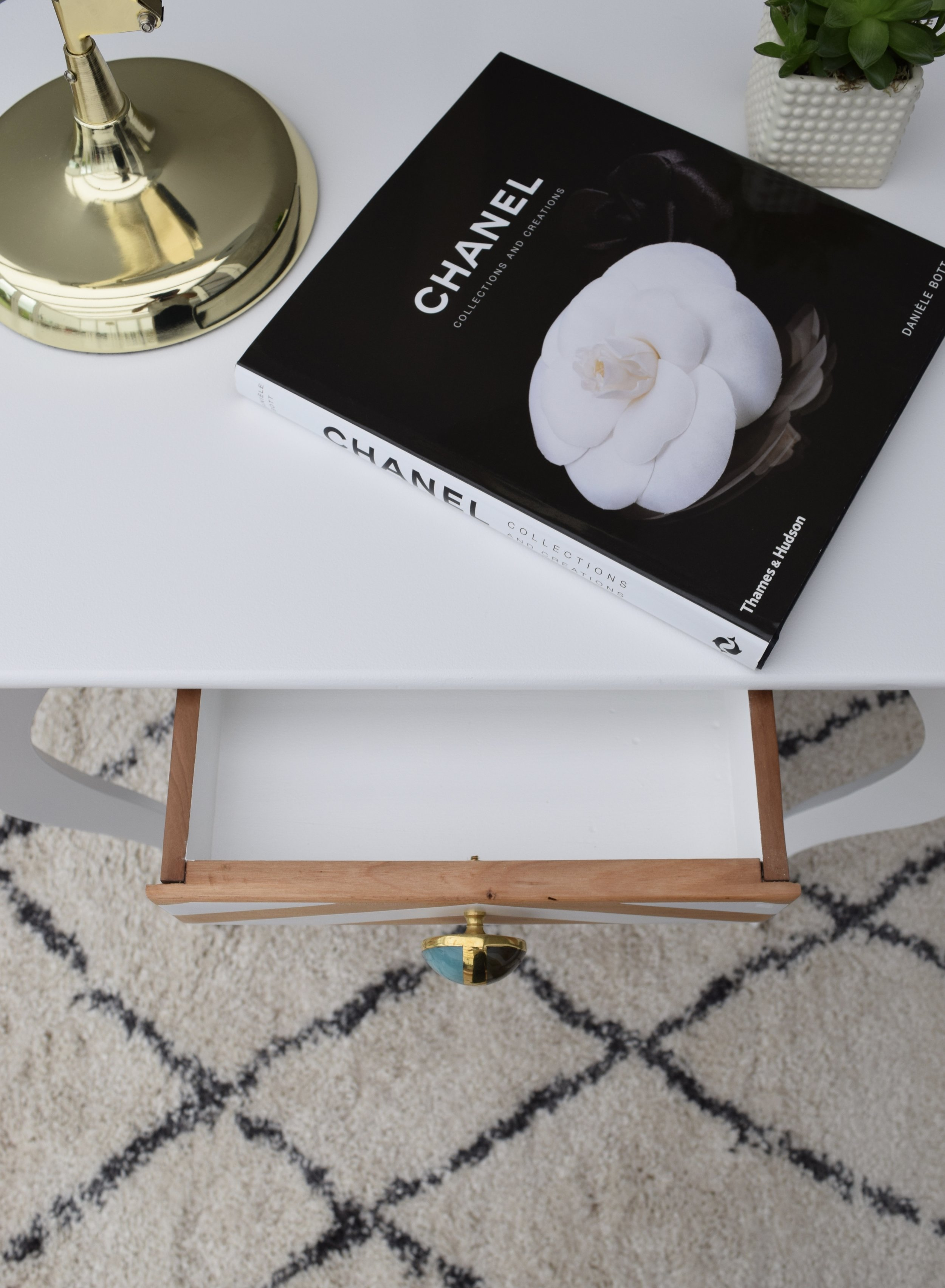 DRAWER WITH ANTHROPOLOGIE HANDLE ON OUR VINTAGE OAK TABLE